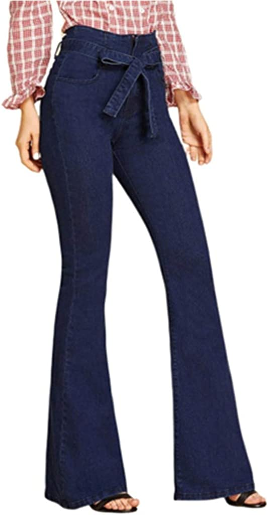 Forthery Women Bell-Bottom Flare Pants Loose Fit Vintage Stretchy Plus Size Jeans Denim Pencil Pants
