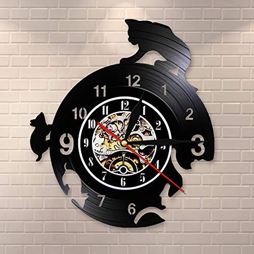 Liushenmeng Reloj de Pared de Vinilo Ratón y Gato al escondite Discos de Vinilo Reloj de Pared Reloj de Vinilo Vintage Relojes de Pared Decoración para el hogar Hechas a Mano Art diámetro 30cm