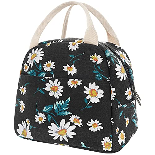 EurCross Black Lunch Bag Floral Daisy Women Tote Box Reusable Canvas Cooler Container Lunch Holder Portable Meal Prep Water-resistant for Kids Girls for School Trip Picnic Travel