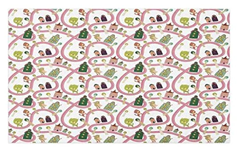 Lunarable Children's City Map Doormat, Cats and Birds on The Road with Cartoon Houses Fantasy Town Pattern, Decorative Polyester Floor Mat with Non-Skid Backing, 30 W X 18 L Inches, Multicolor