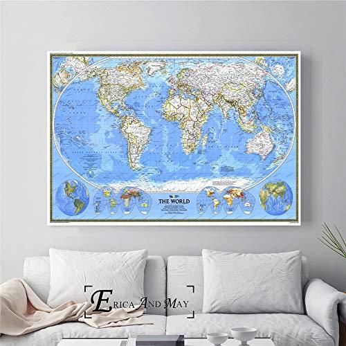 ganlanshu Hochauflösende Karte großes Plakat und Druckwanddekorationsmalerei auf Leinwandwohnheimdekoration,Rahmenlose Malerei-40X60cm