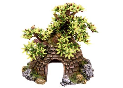 Nobby Cottage avec l'arbre Décoration pour Aquarium 17 x 14,5 x 17,5 cm