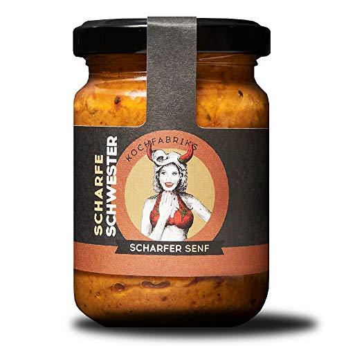 KOCHfabrik Scharfe Schwester 130ml | feurig-scharfer Senf verfeinert mit Chili | vegan & glutenfrei | ohne Konservierungsstoffe & Geschmacksverstärker | 1x Senf im Glas