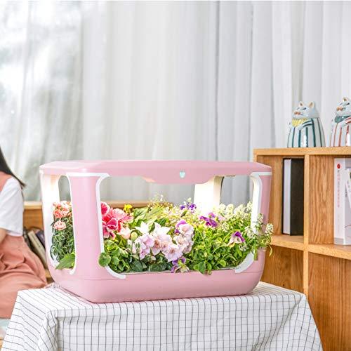 CRZJ Kit de jardín de Hierbas para Interiores, Sistema de Cultivo hidropónico, Kits de germinación de Plantas, Tanque de Agua de 9 l, jardín de Hierbas con riego automático,Rosado