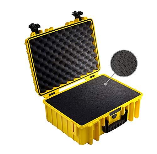 B&W Transportkoffer Outdoor Typ 5000 gelb mit Würfelschaum - wasserdicht nach IP67 Zertifizierung, staubdicht, bruchsicher und unverwüstlich