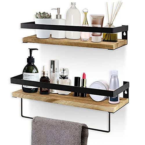 Y&Me Badezimmer-Aufbewahrungsregal, Wandmontage, 2er-Set, rustikales Holz, schwebende Regale mit abnehmbarem Handtuchhalter, perfekt für Küche, Bad (karbonisiertes Braun)