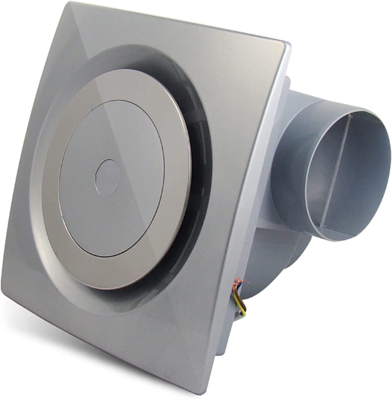 Ventilador extractor Ventilador de escape del conducto circular Ventilador de ventilador de techo para el hogar con la válvula de retención 25 × 2 5 CM Ventilador silencioso de ventilación, plata, 3 0