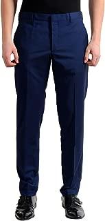 Men's Wool Navy Blue Flat Front Dress Pants