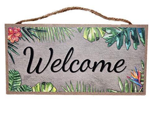 Wooden Hanging Welcome Sign Plaque - Hawaiian Tropical Decor - Small 5x10 Inches