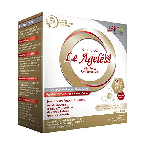 LABO Nutrition Le Ageless  Placenta Cell Rejuvenating Therapy from Japan  Enhanced with Collagen Peptide and Brewers Yeast to Supports Immune Health, Skin Regeneration, Anti-Aging  60 Capsules