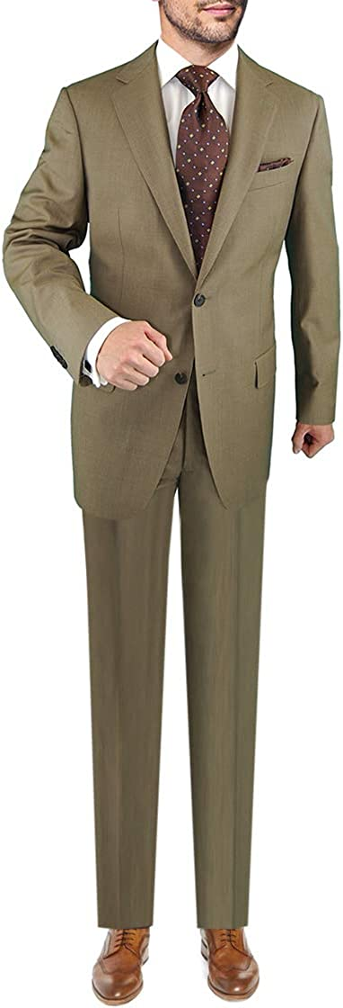 DTI Men's Two Button Business Suit Nano Luxury Stretch 100% Wool Two Piece Tan