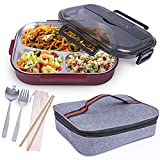PHYNX Bento Box - Leakproof Japanese Bento Lunch Box with Three Compartments, Bento Box Stainless Steel, Spoon & Fork, Insulated Carrying Bag and Reusable Bamboo Chopsticks