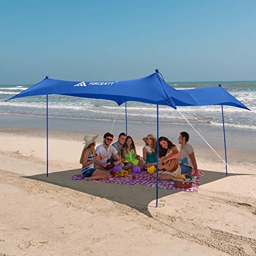 Forceatt Tendalino da Spiaggia, Tenda da Spiaggia Pop-up con Protezione UV UPF50 e 4 Pali in Alluminio, Riparo da Esterno per Tempo in Spiaggia, Cortile, Pesca, Campeggio o Picnic in Famiglia (3mx3m).