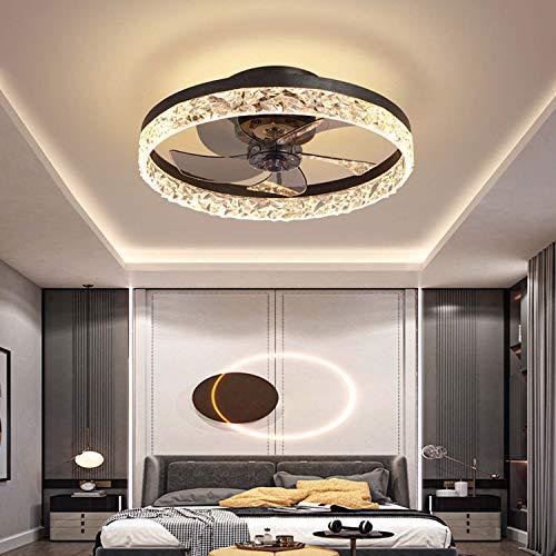 Ventilador de techo con iluminación y control remoto reversible, luces de techo LED modernas regulables de 48 W, velocidad de viento ajustable de 6, ventilador silencioso creativo para la sala,Negro,B
