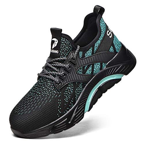 Zapatos de Seguridad Hombre Mujer Ligero Zapatillas Transpirable Calzado de Trabajo Seguridad con Punta de Acero Cómodas Antideslizante darkgreen47