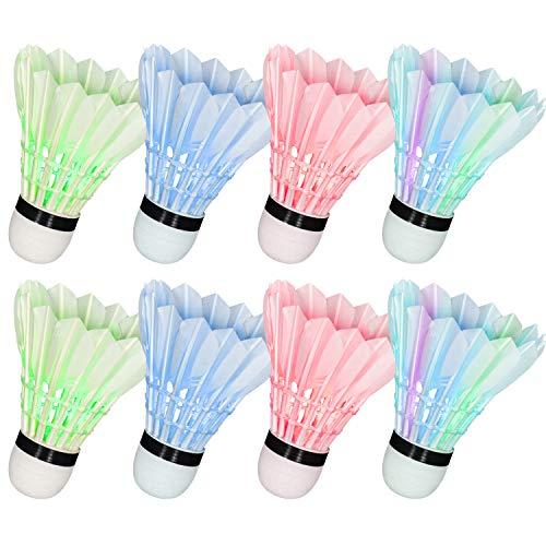 Hysagtek 8 Stücke Bunte LED Badminton Dunkle Nacht Beleuchtung Federball Ausbildung Badminton Birdie