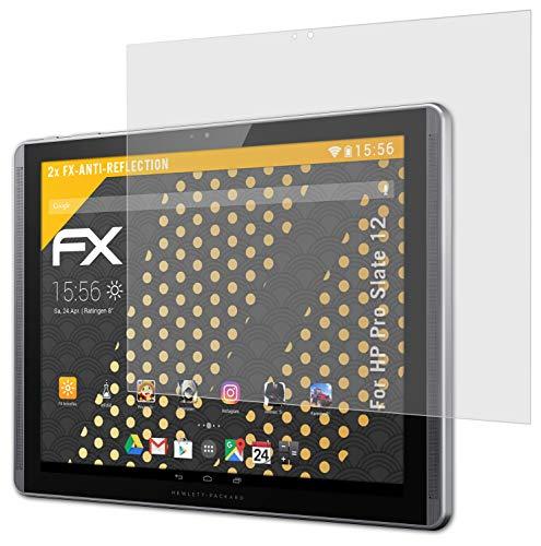 atFolix Panzerfolie kompatibel mit HP Pro Slate 12 Schutzfolie, entspiegelnde & stoßdämpfende FX Folie (2X)