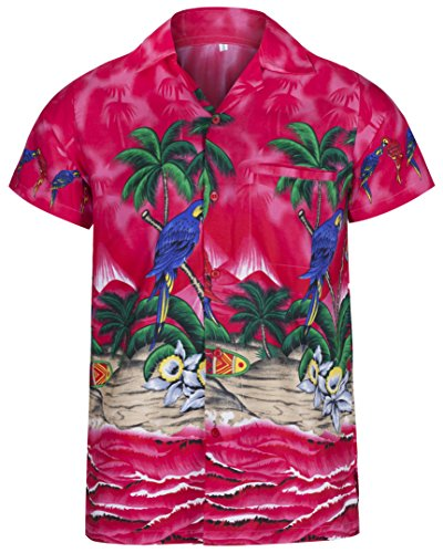 Redstar Fancy Dress - Camisa Hawaiana de Manga Corta - para Hombre - Playa y Loros - Todas Las Tallas - Rosa - XL