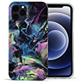CAGOS Case Compatible with iPhone 12/iPhone 12 Pro, Marble Ultra Slim Thin TPU Protective Phone Case for Women, Anti-Scratch Case Cover Designed for iPhone 12/iPhone 12 Pro 6.1″2020 (Black/Colorful)