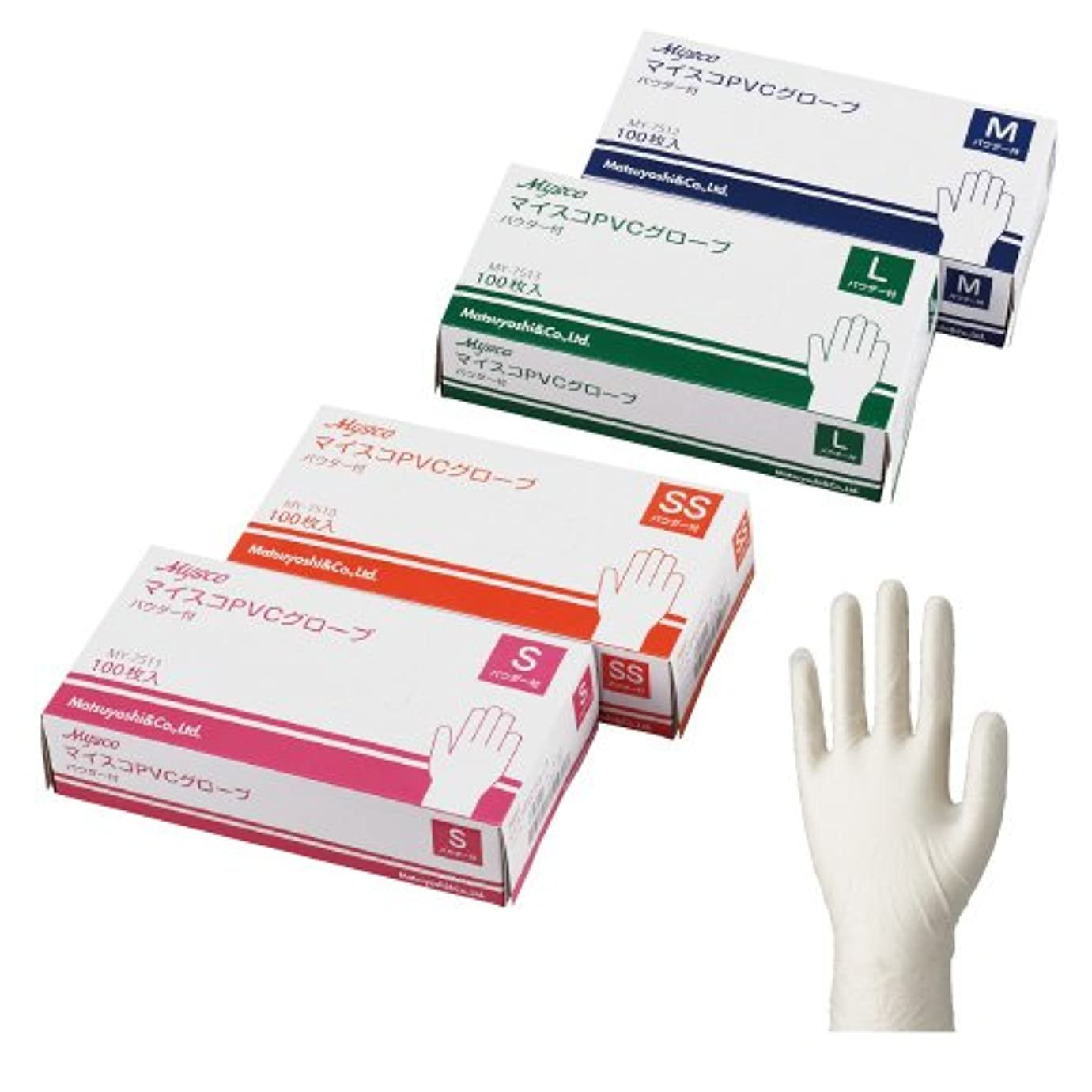 癒す奨励セッティングマイスコPVCグローブパウダー付き6ケース(600枚) (L)