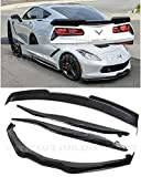 Replacement For 2014-2019 Corvette C7 ALL Models | Z06 Stage 2 PAINTED CARBON FLASH METALLIC Aerodynamic Full Body Combo Kit Front Splitter Side End Caps Winglets With Side Skirts & Rear Spoiler