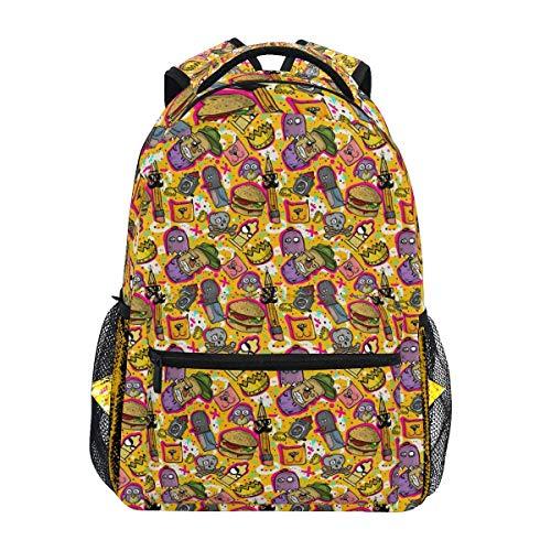 LNLN Graffiti Sticker Bomb Backpacks College School Book Bag Travel Hiking Camping Daypack