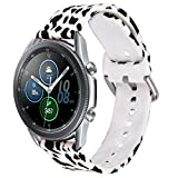 VISOOM Galaxy Watch 3 Band 41mm - Soft Silicone Strap Compatible with Samsung Watch 3 41mm Bands Leopard Bracelet Replacement for Samsung Galaxy Watch 3 41mm/Galaxy Watch 42mm(Snow Leopard)