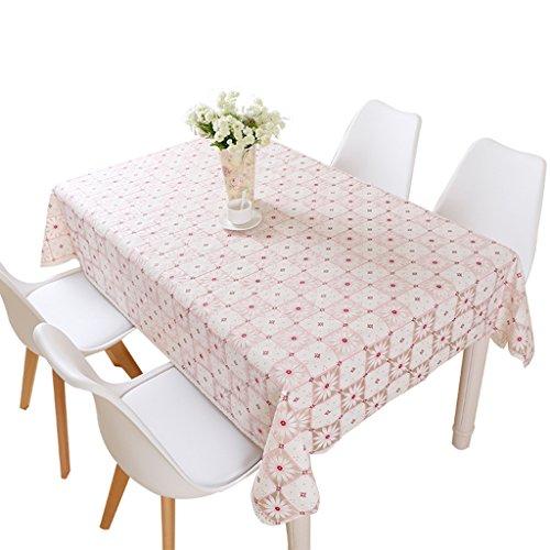 Nappe créative, impression de treillis rectangle salon salle à manger table étanche à la chaleur en plastique PVC nappe longueur 137-220 CM (Couleur : Rose, taille : 137 * 200CM)