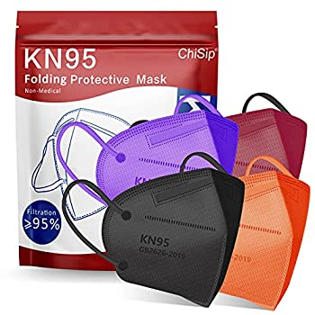 KN95 Face Mask 20Pcs 5 Layer Design Cup Dust Safety Masks Breathable Protection Masks Against PM2.5 Dust Bulk for Adult Men Women Indoor Outdoor Use Colorful