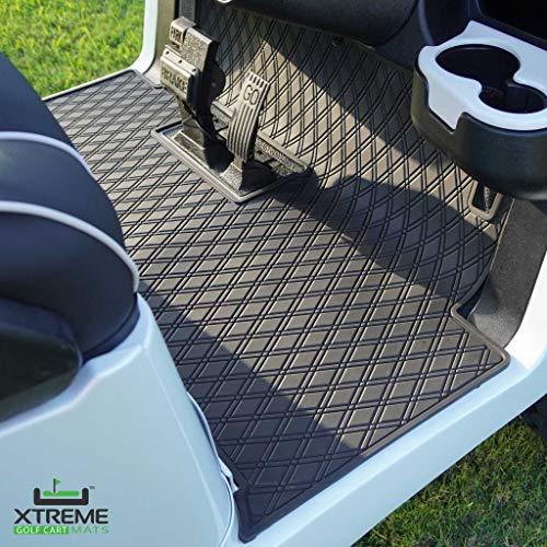 Xtreme Mats Full Coverage Golf Cart Floor Liner Mat W/Color Options- Fits Club Car Models Precedent (2004-2020)/Onward & Tempo (2017-2020) - Black with Black Trim
