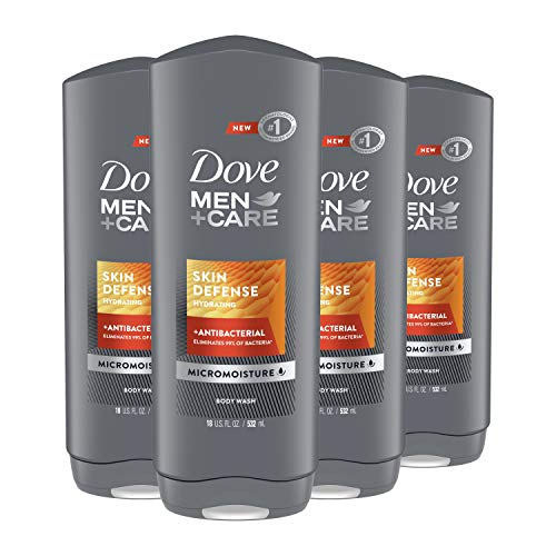 DOVE MEN + CARE Body Wash For Smooth and Hydrated Skin Care Skin Defense Effectively Washes Away Bacteria While Nourishing Your Skin 18 oz, 4 Count