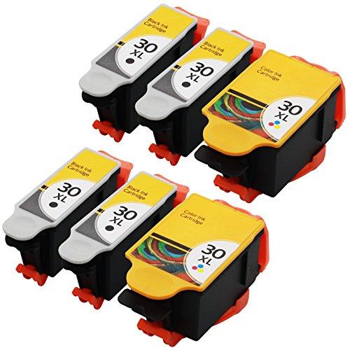 GPC imagen paquete de 6Set de repuesto compatible para Kodak 30XL 30x l (4Negro, 2de color) 15505321341080para uso en esp 3,2°C110°C310°C315ESP OFFICE 21502170HERO 3.14.25.1impresora