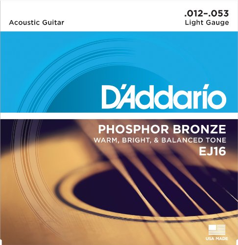 1. D'Addario EJ16 Phosphor Bronze Acoustic Guitar Strings