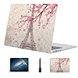 Compatible con Macbook Air 11'13' Pro 15'16' Francia Francés París Torre Eiffel Flor Sakura Estuche rígido de plástico para Macbook Pro 15 Accesorios de protección con Alfombrilla de ratón