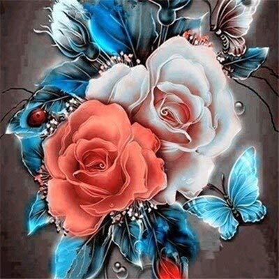 Pintura de diamantes de flores flor de piedra redonda completa bordado de diamantes cuadro de diamantes de imitación de rosas pintura de mosaico A8 50x50cm