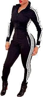 Enggras Women's Striped Zip Up Long Sleeve Sport Workout Bodycon Jumpsuit Romper Zentai Bodysuit