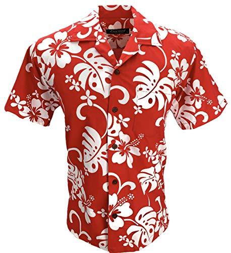 Favant Tropical Luau Beach Hibiscus All Over Floral Print Men's Hawaiian Aloha Shirt (Red, Large)