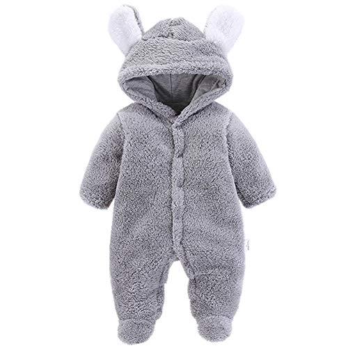 Morbuy Morbuy Baby Overall Strampler Unisex Baby Strampelanzugmit Kapuze Schneeanzüge Fleece Strampler Spielanzug Footed Jumpsuit Winter Onesie Outfits (59cm (3M), Grau)