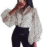 Camisa de Manga Larga para Mujer Top Blusa Transparente Casual con Lunares Crop Top Suelto de Punto de Moda Camiseta de Verano Primavera Blanco S