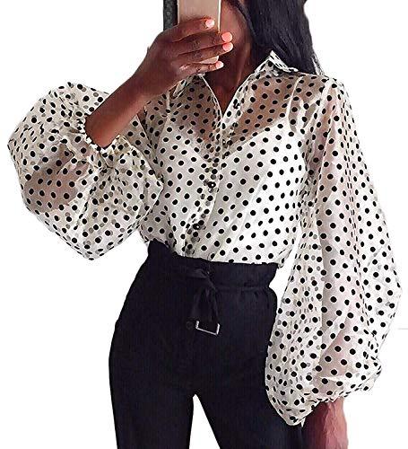 Camisa de Manga Larga para Mujer Top Blusa Transparente Casual con Lunares Crop Top Suelto de Punto de Moda Camiseta de Verano Primavera Blanco M