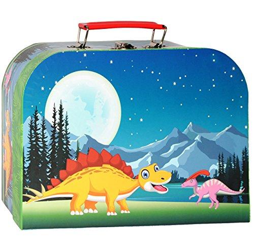 alles-meine.de GmbH 1 Stück _ Koffer / Kinderkoffer - MITTEL -  Dino / Dinosaurier  - 25 cm - Pappkoffer - Puppenkoffer - Kinder - Pappe Karton - Saurier - Dinos / Tiere - idea..