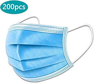 Disposable Non-Woven 3-Layer Face Protection Adult Dust-Proof Ma-sk Safe Breathable Surgical Hygiene Dental Dust Smog Cleaning for Personal Health,Blue,200pcs