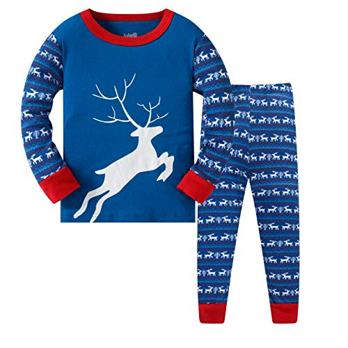 Image of Blue Flying Reindeer Christmas Pajamas for Boys and Toddlers