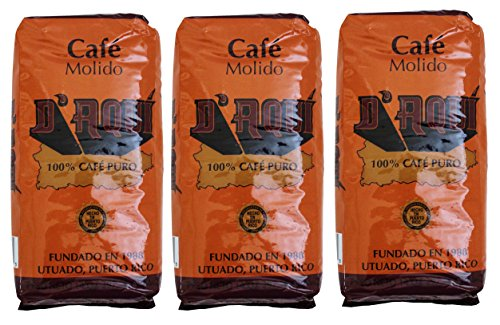 Cafe D'aqui 100% Pure Ground Coffee From Puerto Rico Mountains 14 oz. Bags (3 Pack)