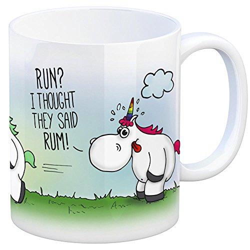 Honeycorns Kaffeebecher mit Einhorn Motiv und Spruch: Run? I Thought They Said Rum! Tasse Kaffeetasse Becher Mug Teetasse Büro Rum Alkohol Sport Joggen Faulpelz relaxen Sportmuffel Unicorn