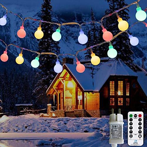 Lichterkette Außen bunt Glühbirnen, 12M 120 LED mit 31V Transformator, 8 Modi Weihnachten Lichterketten für Party Garten Balkon und Innen,...