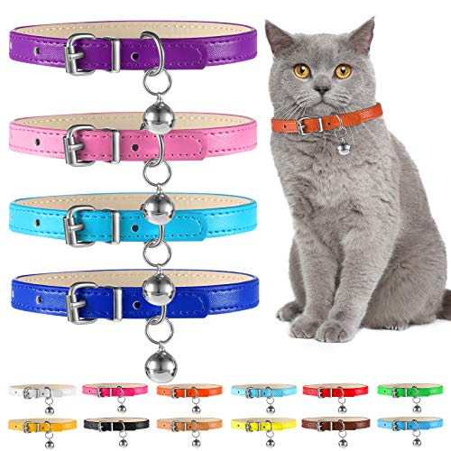 Weewooday 16 Pieces Soft Leather Pet Collar Set Cat Dog Collars with Bell Cat Safety Colorful Soft Adjustable Collars for Kitten Puppy Small Dogs Cats