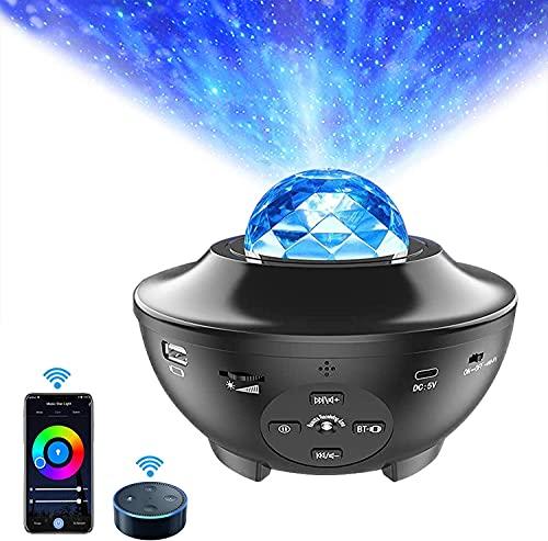 WiFi LED Proiettore Musicale con Telecomando APP, ALED LIGHT Lampada Stelle Altoparlante Bluetooth Integrato e Sensore Sonoro, Proiettore Notturno per Bambini Natale Decorazioni per la casa