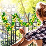 4 pieces 8.2 feet artificial sunflower vine hanging sunflower garland, 100 led string light and 20 pieces clear mini light clips for christmas decoration home kitchen garden office wedding wall decor