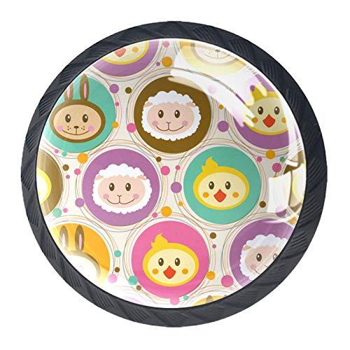 Schubladengriffe mit Cartoon-Tier-Symbol, für Schrank, Frisiertisch, Kommode, mit Schrauben, 4 Stück